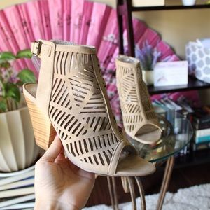 Taupe Laser Cut Caged Heeled Sandals